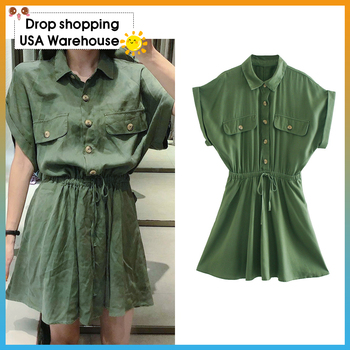 OUSHANG Vintage Short Sleeve Elastic Waist Adjustable Tie Female Dresses Women 2020 Chic Fashion Pockets Button-up Mini Dress цена 2017
