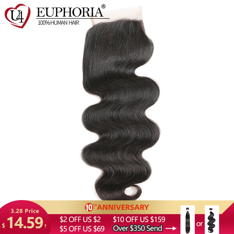 Brazilian Hair Body Wave Lace Closure 4x4 EUPHORIA Natural Color 100% Remy Human Hair Closures Free/Middle Part With Baby Hair