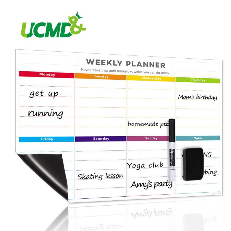 Magnetic Durable Daily Weekly Planner Waterproof Memo Reminder Message Whiteboard Erasable Schedule Calendar Sticker For Fridge