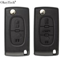 Okeytech Flip Folding Autosleutel Shell Voor Peugeot 206 407 307 607 Voor Citroen C2 C3 C4 C5 C6 Berlingo remote Key Case 2/3 Knoppen