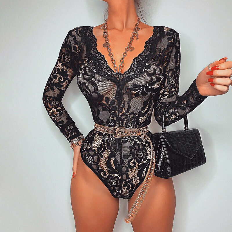 2020 Sexy Ladies Women Lace V Neck Bodysuit Playsuit Bandage Bodycon Slim Jumpsuit Party Clubwear Romper