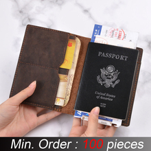 Id-Card-Case-Holder Wallets Passport-Cover Business Credit Crazy Genuine Solid 100pieces/Lot