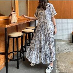 Женское платье размера плюс 4XL, летнее платье с круглым вырезом и принтом животных, шифоновое свободное белое платье с коротким рукавом, 2020