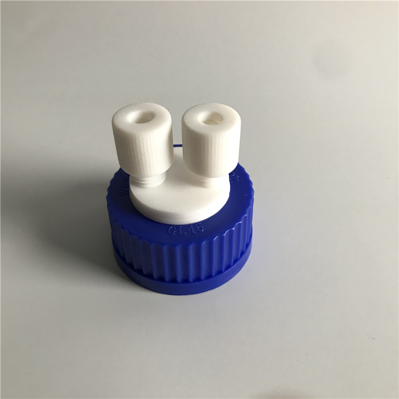 GL45 Two-hole Sealing Cap Waste Liquid Safety Cap Pressure Bottle Cap 1/16 1/8 1/4