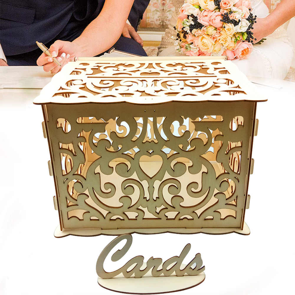 ไม้งานแต่งงานของขวัญซองจดหมายกล่อง Hollow ดอกไม้รูปแบบการ์ดเชิญ DIY กล่องอุปกรณ์จัดงานแต่งงาน PARTY Decor