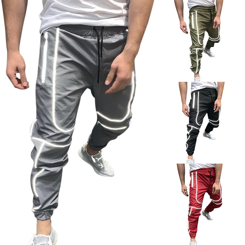 Trousers Men Sportswear Reflective-Pants Joggers New Trainin Night Male title=
