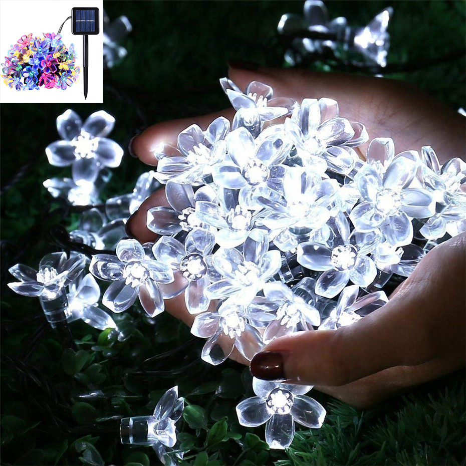 7m Solar Light String Peach Flower Outdoor Waterproof Fairy Tale Christmas Wedding Garden Decoration 8 Modes Solar Light String