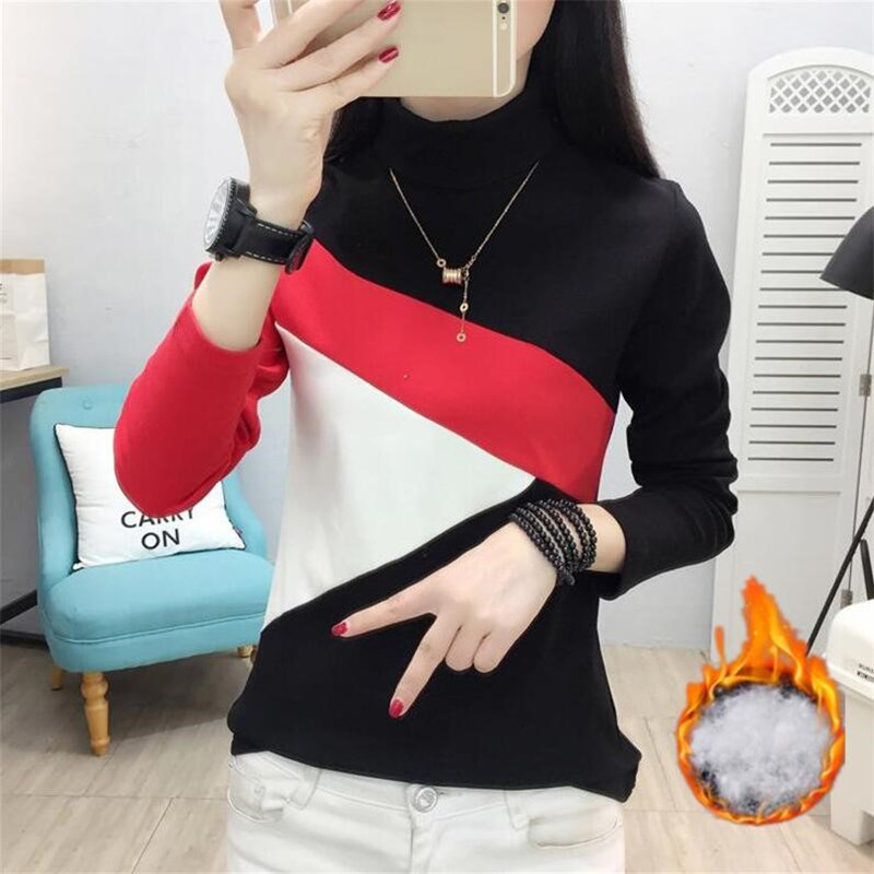 Hot Sale Women Knitted Geometric Mosaic Pullover Sweater 2020 Spring Autumn Warm Thin Fleece Turtleneck Pullovers Sweater