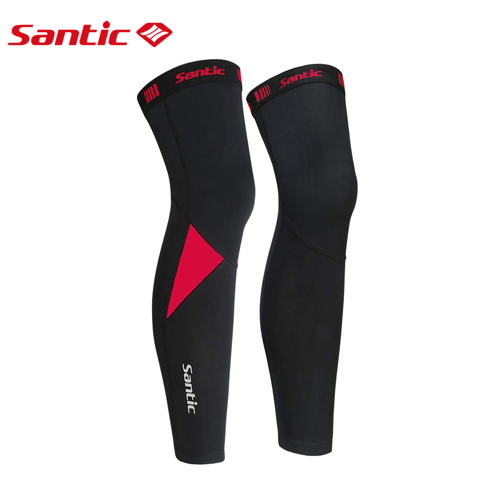 Santic Cycling Leg Warmers Thermal Fleece Windproof Soft Shell Knee Sleeve Breathable MTB Mountain Bike Protect Cover Asian Size