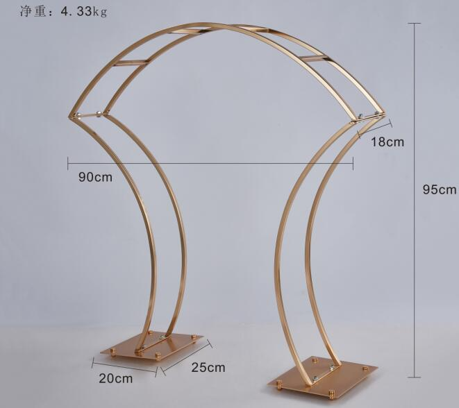 5PCS New Style Flower Rack Gold Arch Stand Road Lead Wedding Centerpie (3)