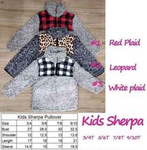 RTS TTS Monogram leopard cheetah buffalo plaid patch KIDS SHERPA pullovers boys&girls jackets Fleece Youth Pullover coats