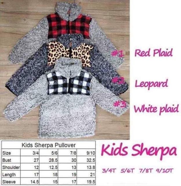 RTS TTS Monogram leopard cheetah buffalo plaid patch KIDS SHERPA pullovers boys&girls jackets Fleece Youth Pullover coats