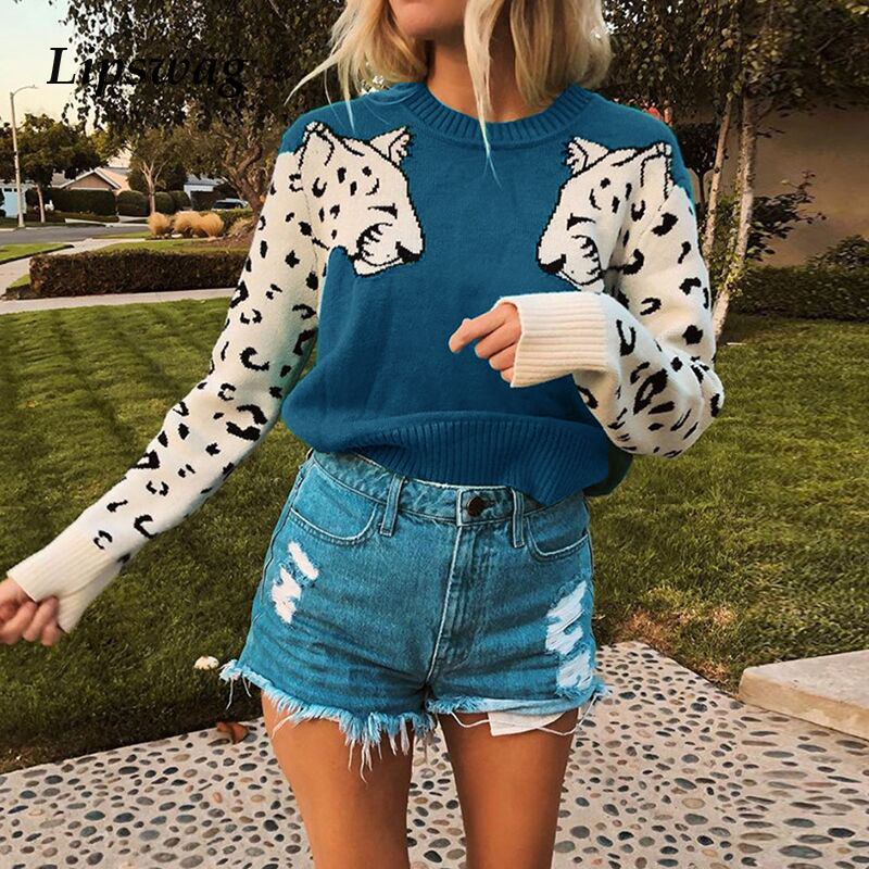 Lipswag Casual Print Leopard Knitted Sweater Women Streetwear O-neck Long Sleeve Pullovers Autumn Winter Fashion Jumper Female