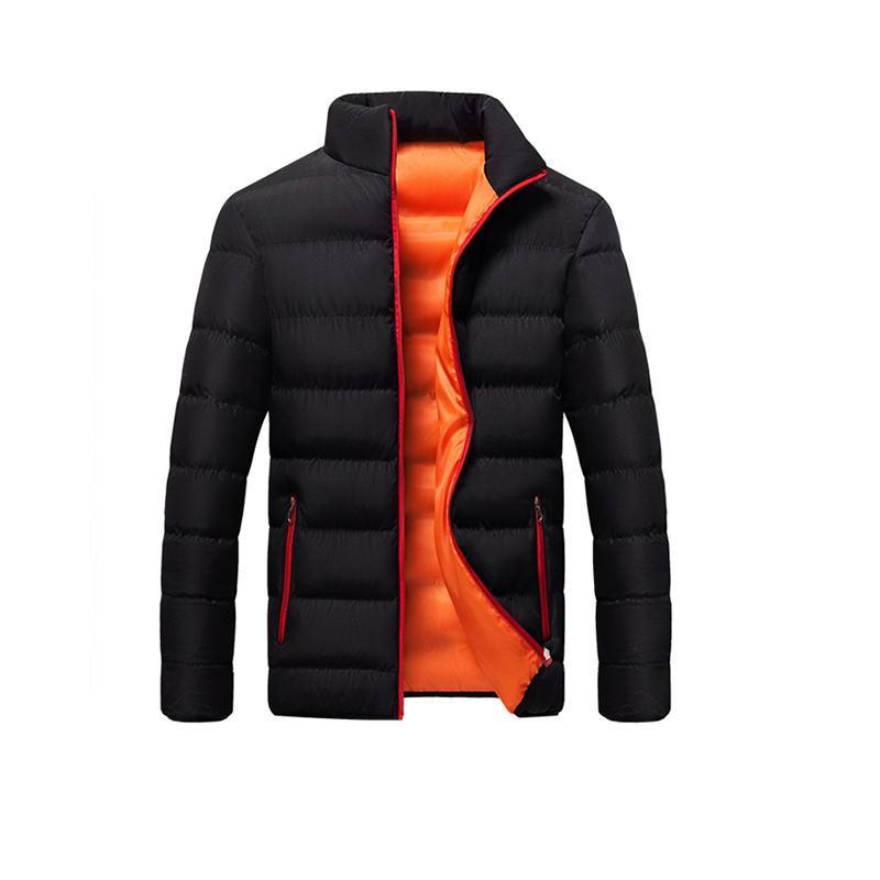 Autumn Winter Jacket Mens Brand Clothing Casual Coat New Solid Color Simple Male Outwear Parkas Stand Collar High Quality M-4XL