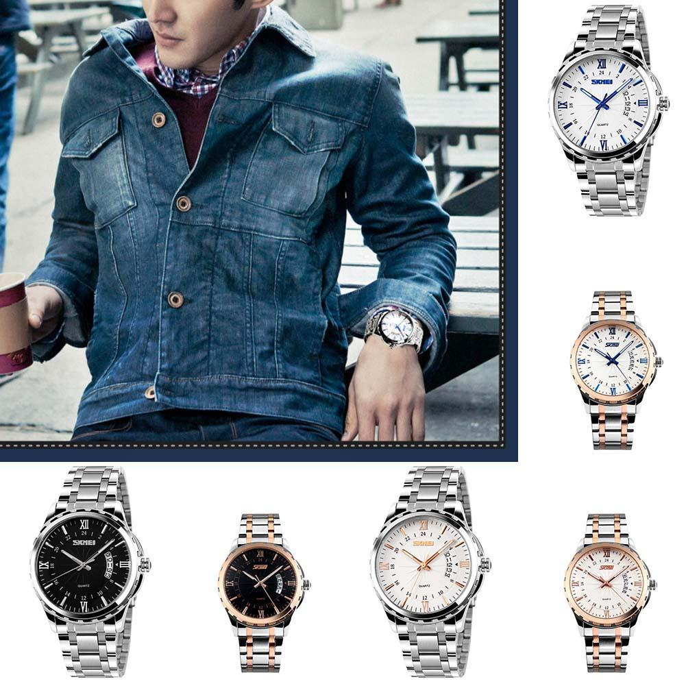 Men Business Waterproof Luminous Date Display Roman Arabic Number Wrist Watch Mas-culino Fashion Men's Watch Large Dial Military