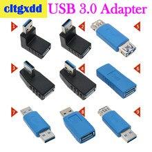 Cltgxdd soquete adaptador de entrada usb 3.0, conversor de ângulo reto usb3.0 tipo l com plug de 90/180 graus conector para baixo