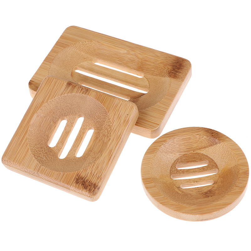 Natural Wooden Bamboo Soap Dish Wooden Soap Tray Holder Storage Soap Rack Plate Box Container For Bath Shower Plate Bathroom