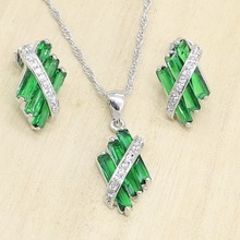 Pendant Stud-Earrings Jewelry-Sets Necklace Silver-Color Women Green-Semi-Precious Birthday-Gift