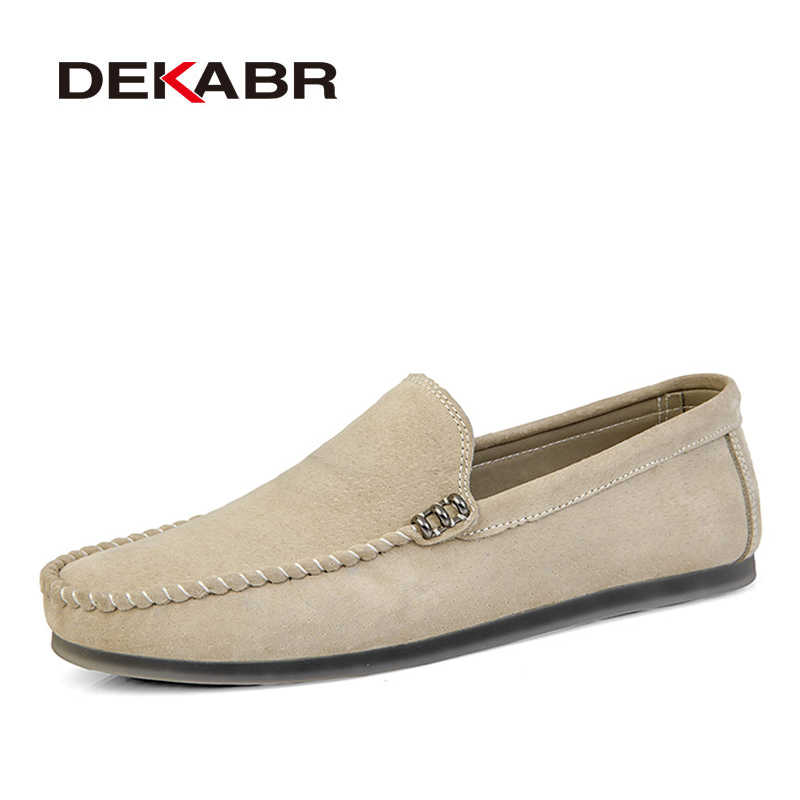 DEKABR Brand New Men Leather Casual Shoes Soft  Loafers Men Moccasins Shoes Slip-on Men Lightweight Driving Shoes  Flats