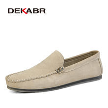DEKABR Brand New Men Leather Casual Shoes Soft  Loafers Men Moccasins Shoes Slip on Men Lightweight Driving Shoes  Flats