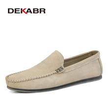 DEKABR العلامة التجارية الجديدة الرجال الجلود حذاء كاجوال لينة المتسكعون الرجال الأخفاف أحذية الانزلاق على الرجال خفيفة الوزن أحذية قيادة الشقق