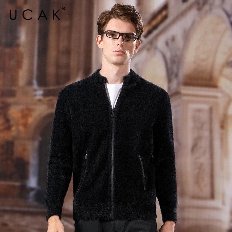 UCAK Brand Sweatercoat Men 2020 New Fashion Trend Casual Streetwear Solid Autumn Winter O-Neck Zipper Warm Sweaters Male U1038