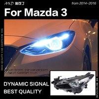 AKD Car Styling for Mazda 3 Headlights 2014 2016 Mazda3 Axela LED Headlight LED DRL Hid Head Lamp Angel Eye Bi Xenon Accessories