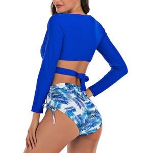Image 3 - Riseado maillot de bain Sexy, culotte taille haute, portefeuille croisé, manches longues, imprimé feuilles, vêtements pour la plage, maillots de bain femmes