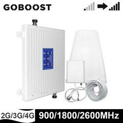 GOBOOST GSM 2G 3G 4G wzmacniacz komórkowy telefon komórkowy 900 DCS LTE 1800 2600 MHz tri-band telefon komórkowy 4g wzmacniacz sygnału pełne zestawy