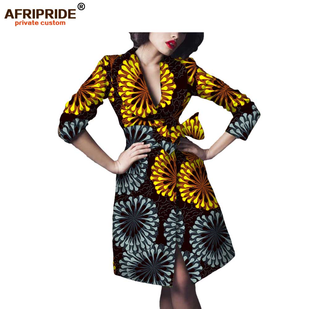 African Autumn Women Casual Coat Full Sleeve Turn-down Collar Knee Jacket With Bow Sashes Pure Cotton  AFRIPRIDE A722418