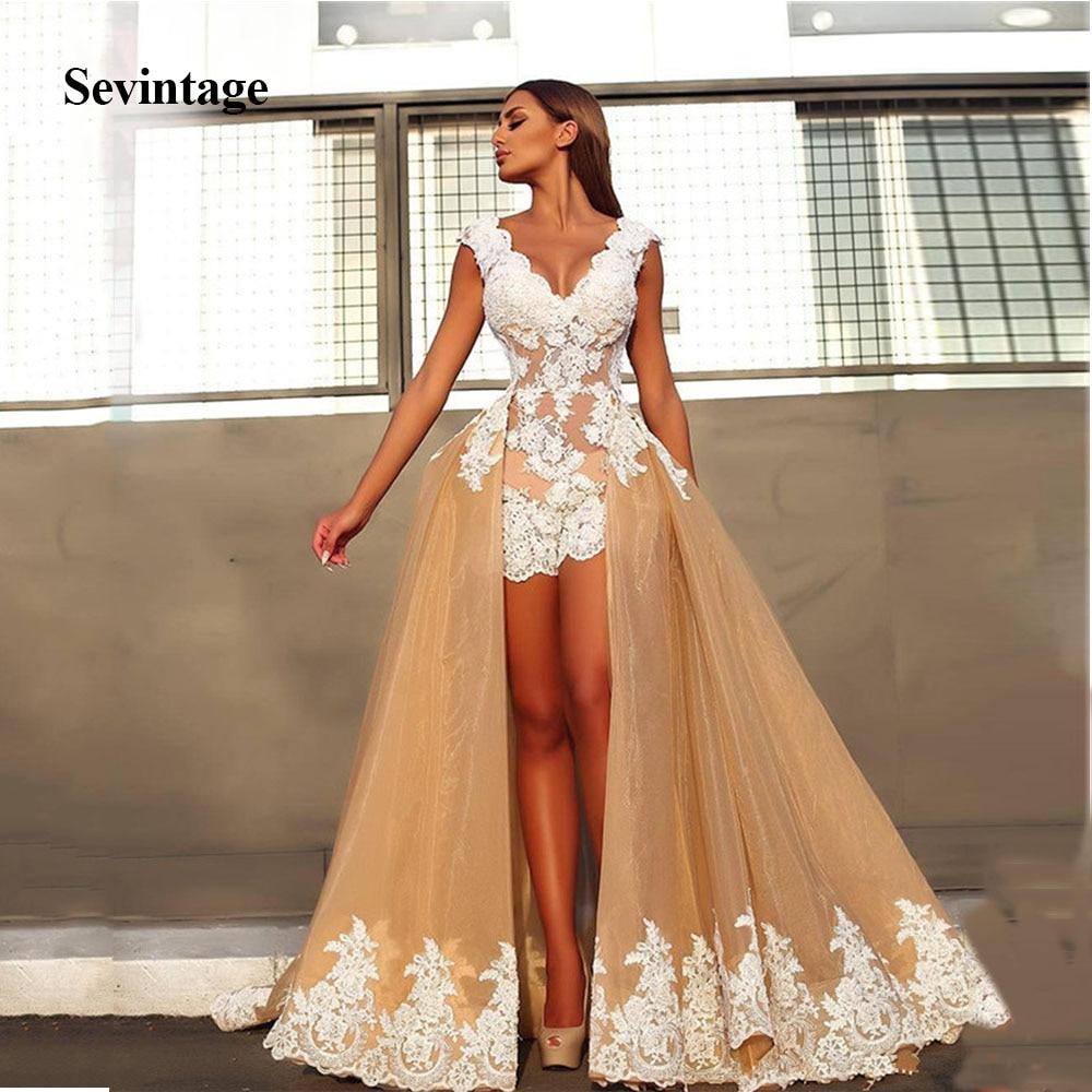 Sevintage Detachable Train Organza Mini Prom Dresses White Appliques V Neck Formal Party Gowns Robe De Soiree