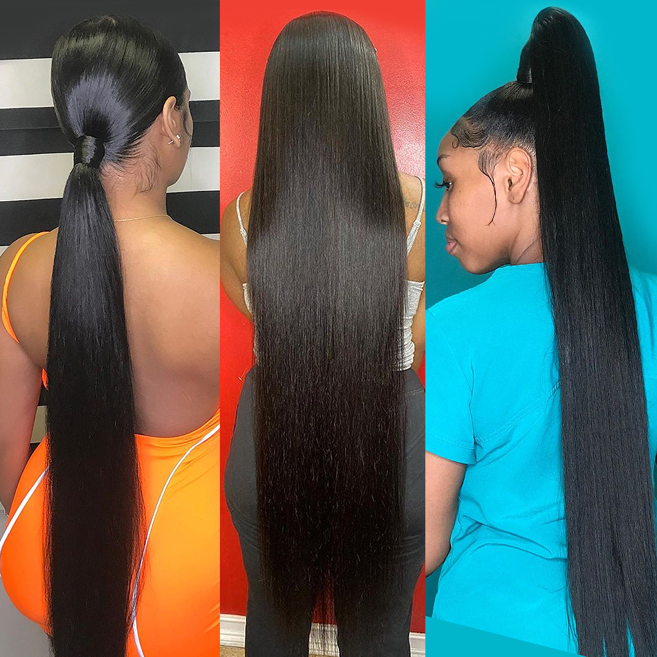 Fashow 30 32 34 36 40 inch Indian Hair Straight Hair Bundles 100% Natural  Bundles Double Wefts  Hair s 6