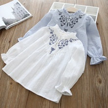 Casual Spring Baby Girl Long Sleeve Autumn Fashion Flower Embroidery Shirt Kids