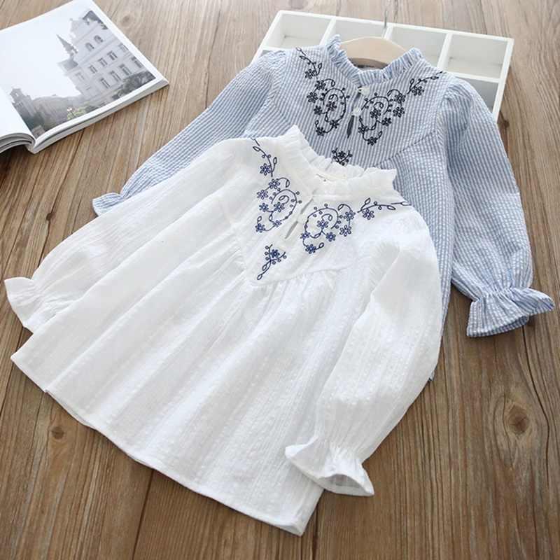 Rahat bahar bebek kız uzun kollu sonbahar moda çiçek nakış gömlek çocuklar bluz