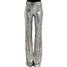 2019 New Women Flare Pants Autumn Casual Solid Skinny Elastic Low Waist Full Length Sequined Trousers Sparkling