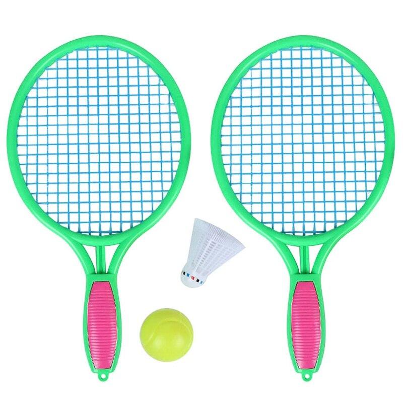 2 ensemble raquette de Tennis de plage enfants Sports de plein air raquette de Tennis avec balle de Badminton vert et rose