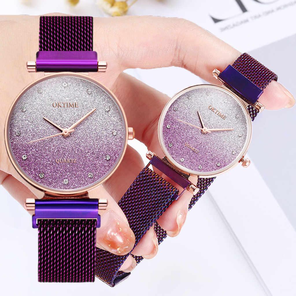 Frauen Uhr Elegante Business Starry sky Uhr Damen Luxus Mode Quarz Armbanduhr Armband Uhr Uhr Geschenk Reloj Mujer # W