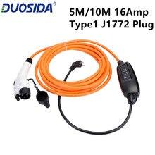 DUOSIDA тип 1 J1772 вилка EVSE 5 м 10 м 16Amp Уровень 2 EV зарядное устройство с ЕС Schuko