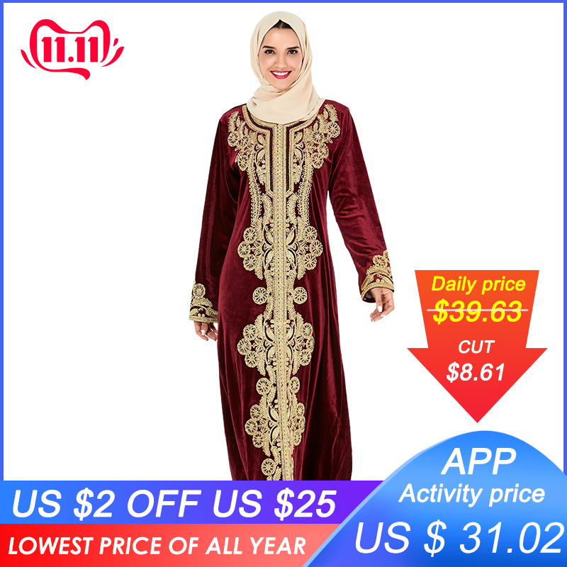 Siskakia Muslim Abaya Dress Luxury Velvet Vintage Ethnic Golden Embroidery Dubai Robes Turkey Moroccan Dresses Fall Party Wears