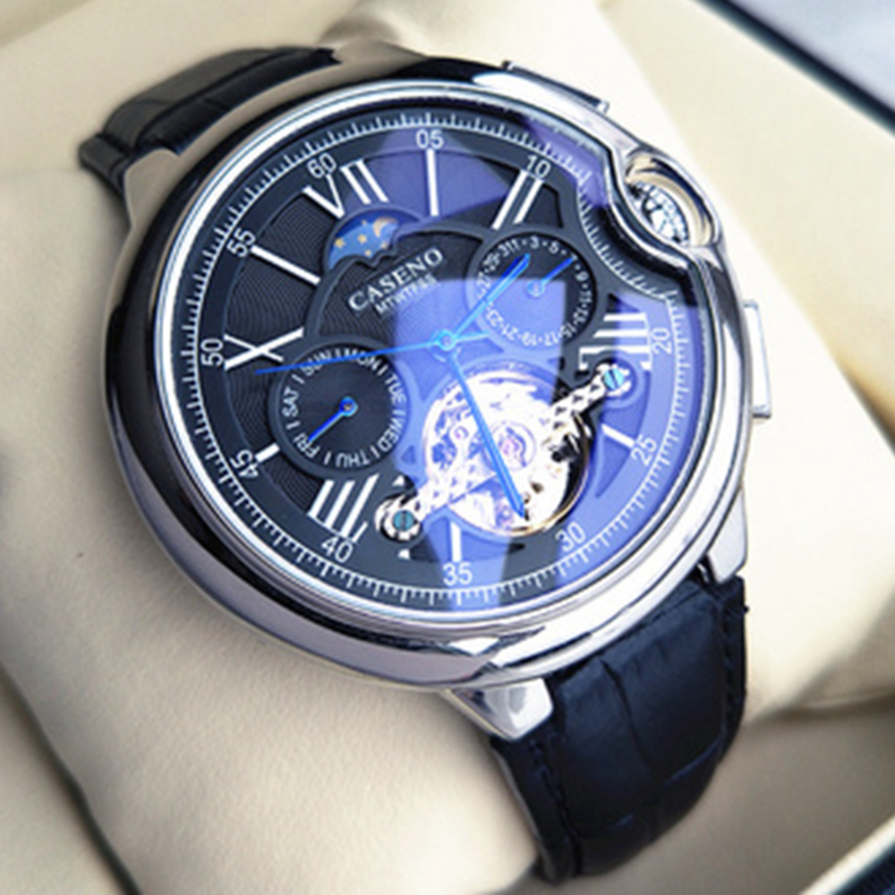 Tourbillon, reloj para hombre, correa de lujo de la mejor marca, reloj de pulsera mecánico automático para hombre, reloj deportivo de esqueleto para hombre, reloj Guanqin automático Reloj Mecánico Tourbillon Esqueleto reloj de deporte impermeable reloj automático reloj hombre reloj masculino