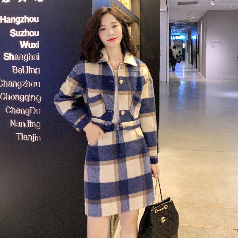 Graceful Dress Outfit Women's 2019 Winter Underwear New Style Fashion Elegant Debutante Short-height Woolen Two-Piece Set Fashio