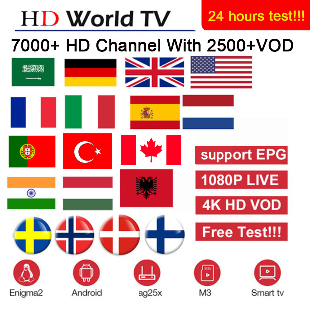 World M3u Iptv Subscription France Spain Netherlands Italy Portugal Local/Sports  Channel HD Iptv Android Smart TV M3U Engima2