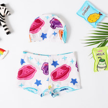 2020 New Swimsuit Baby Boys Swimming Trunks Children Boys Beach Shorts Star Board Trunks Surfer Swimwear Short Pants with Cap(China)