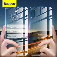 Protector de pantalla de vidrio frontal y trasero Baseus para iPhone Xs Max XR  vidrio templado para iPhoneXs  vidrio de máxima protección  cubierta de película trasera|Protectores de pantalla de teléfono|   -