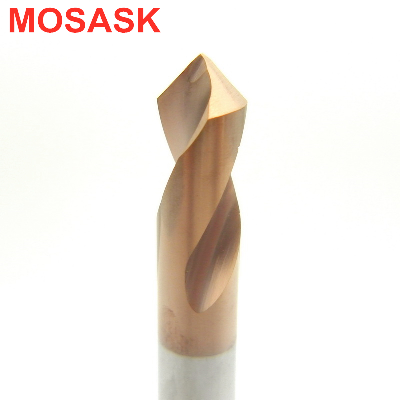 MOSASK HRC60 WGTCDDZ Coated Tungsten Carbide Steel Point Angle 90 Degree Spot Machining Hole Chamfering Tool Drill Bit