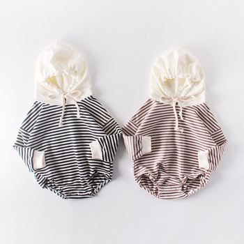 Toddler Kids Striped Hooded Sweet Child Clothing Spring Autumn Ins Hot Black Brown Color Infant Rompers