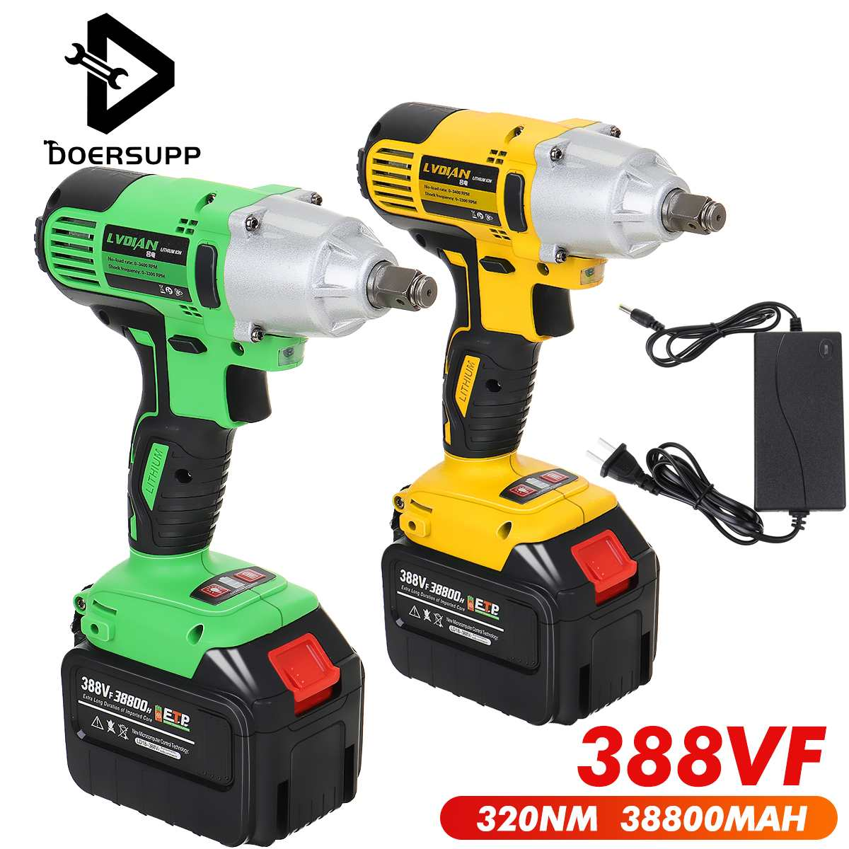 388VF 320Nm Rechargeable Impact Electric Wrench Brushless Impact Cordless Wrench Socket Wrench Power Tool With 38800mah Battery
