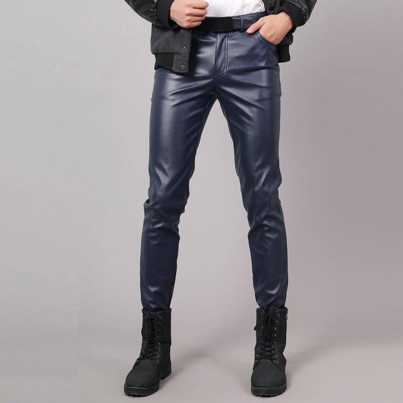 Thoshine Brand Spring Autumn Men Leather Pants Slim Fit Elastic Style Male Fashion PU Leather Trousers Punk Cosplay Dance Pants