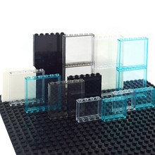 Pencere çerçevesi şehir yapı taşları 1x6 1x4 cam şeffaf Panel ev parçaları duvar MOC tuğla inşaat oyuncaklar uyumlu 59350