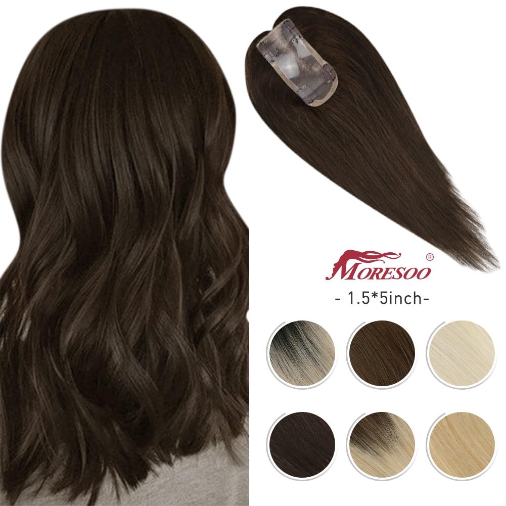 Moresoo Hair Topper capelli umani 1.5*5 pollici Toupee donne macchina Remy capelli lisci pezzi di capelli Clip in Mono Topper capelli umani